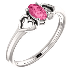 14K White Pink Tourmaline Youth Heart Ring