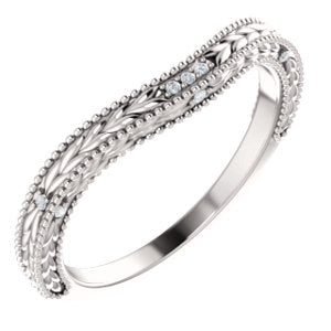 Platinum .03 CTW Diamond Contour Band