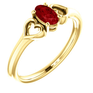 14K Yellow Chatham® Created Ruby Youth Heart Ring