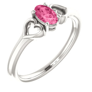 Sterling Silver Imitation Pink Tourmaline Youth Heart Ring