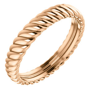 14K Rose 3.75mm Thick Rope Band Size 7