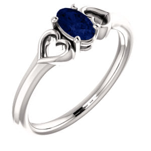 14K White Chatham® Created Sapphire Youth Heart Ring