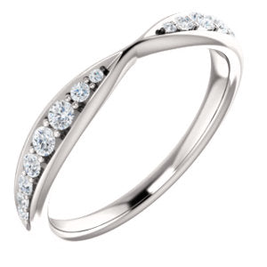 14K White 1/5 CTW Diamond Pinched Contour Band