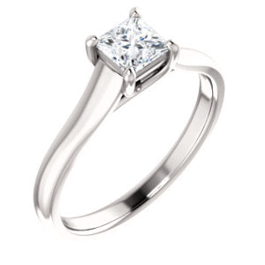 14K White 1/2 CTW Diamond Woven Solitaire Engagement Ring