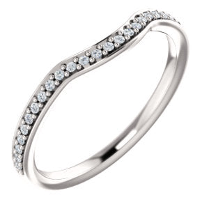 14K White 1/8 CTW Diamond Contour Band