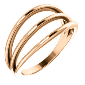 14K Rose 3 Row Negative Space Ring