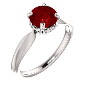 14K White Chatham® Created Ruby & 1/10 CTW Diamond Ring