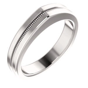 14K White 3.5mm Matching Band for Square Shank Solitaire Mounting