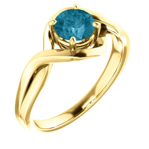 14K Yellow London Blue Topaz Ring
