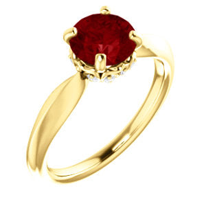 14K Yellow Chatham® Created Ruby & 1/10 CTW Diamond Ring