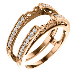 14K Rose 1/4 CTW Diamond Ring Guard