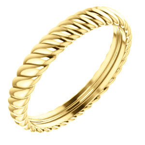 14K Yellow 3.75mm Thick Rope Band Size 10