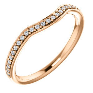 14K Rose 1/8 CTW Diamond Contour Band