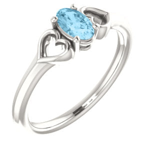 Sterling Silver Imitation Aquamarine Youth Heart Ring