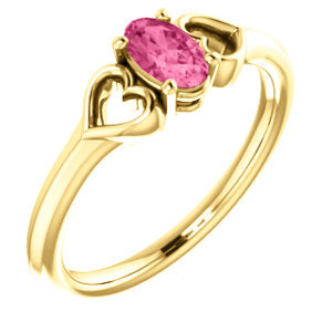 14K Yellow Pink Tourmaline Youth Heart Ring