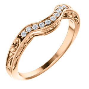14K Rose 1/6 CTW Diamond Vintage-Inspired Band