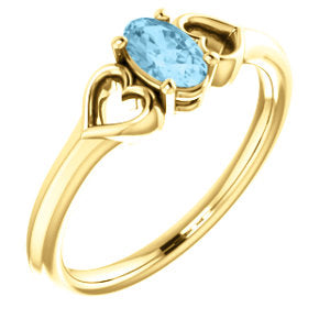 14K Yellow Aquamarine Youth Heart Ring