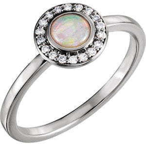 14K White Opal & .08 CTW Diamond Ring