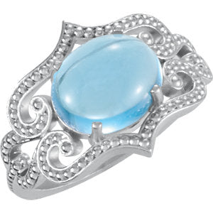 Sterling Silver Swiss Blue Topaz Granulated Design Ring