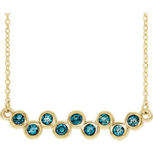 "14K Yellow Aquamarine Bezel Set Bar 16-18"" Necklace"
