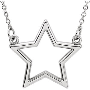 "Sterling Silver Star 16"" Necklace"