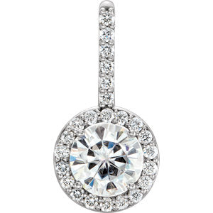 14K White 6.5mm Round Forever One Moissanite & 1/3 CTW Diamond Pendant