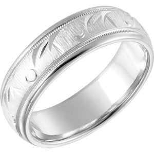 14K White 6.85mm Comfort Fit Fancy Band Size 7
