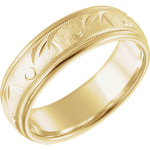 14K Yellow 6.85mm Comfort Fit Fancy Band Size 11