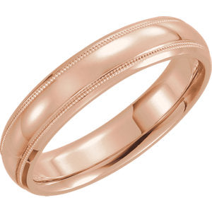14K Rose 6mm Half Round Comfort Fit Milgrain Band Size 11