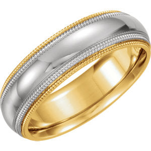 18K Yellow & Platinum 5.5mm Comfort-Fit Milgrain Band Size 6
