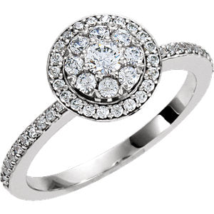 14K White 1/2 CTW Diamond Halo-Style Cluster Engagement Ring