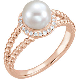 14K Rose Freshwater Cultured Pearl & 1/8 CTW Diamond Ring