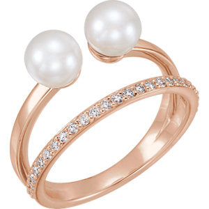 14K Rose Freshwater Cultured Pearl & 1/5 CTW Diamond Ring