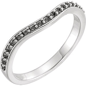 14K White 1/4 CTW Diamond Curved Band