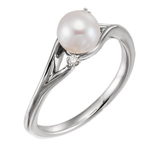 Sterling Silver Freshwater Pearl & .03 CTW Diamond Bypass Ring
