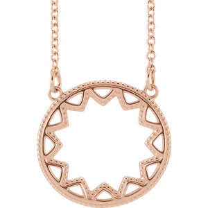 14K Rose Milgrain Sun Necklace
