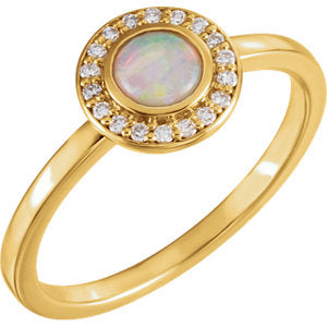 14K Yellow Opal & .08 CTW Diamond Ring