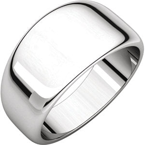 Sterling Silver 10mm Half Round Tapered Band