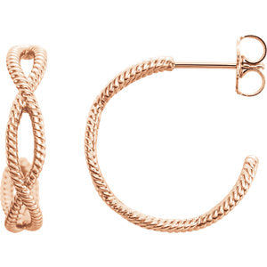 14K Rose Rope Earrings