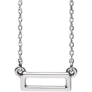 14K White Rectangle Bar Necklace