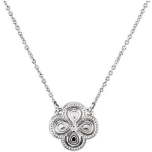 "14K White 18"" Clover Necklace"