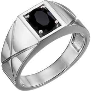 Sterling Silver Onyx Men's Ring