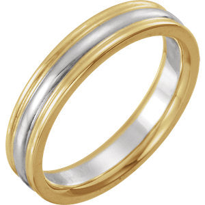 14K Yellow & White 4mm Comfort-Fit Band Size 7