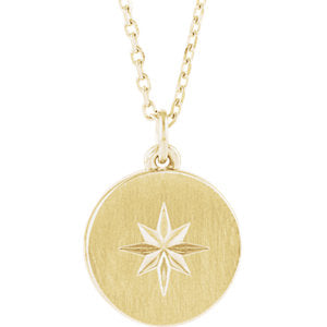 14K Yellow Starburst Disc Necklace