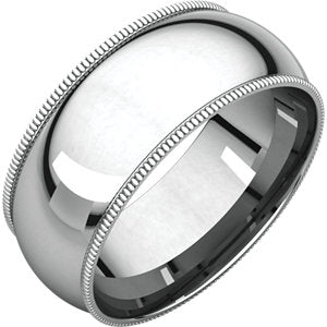 14K White 8mm Milgrain Comfort Fit Band