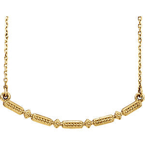 "14K Yellow Beaded Bar 16-18"" Necklace"