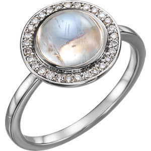 14K White Rainbow Moonstone & 1/8 CTW Diamond Ring