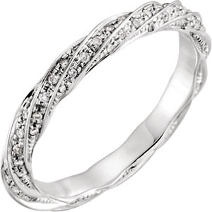 14K White 1/3 CTW Diamond Band Size 6