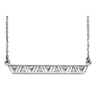 "14K White Triangle Bar 16-18"" Necklace"