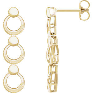 14K Yellow Geometric Dangle Earrings